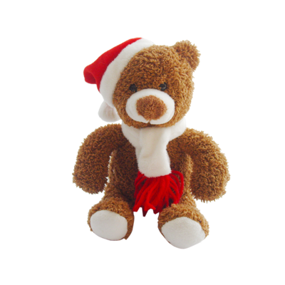 Custom Holiday Plush Christmas Bear Toys With Hat And Scarf